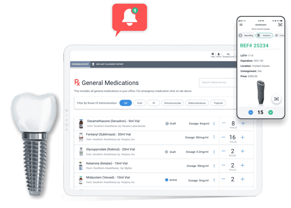 Devices running Sowingo dental software on the general medication inventory page also a metal tooth implant on the left side and a red notification bell on top