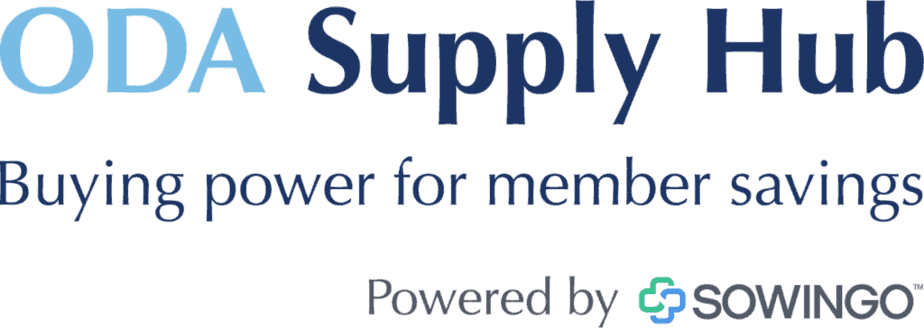 ODA Supply Hub blue text logo that says buying power for member savings powered by sowingo